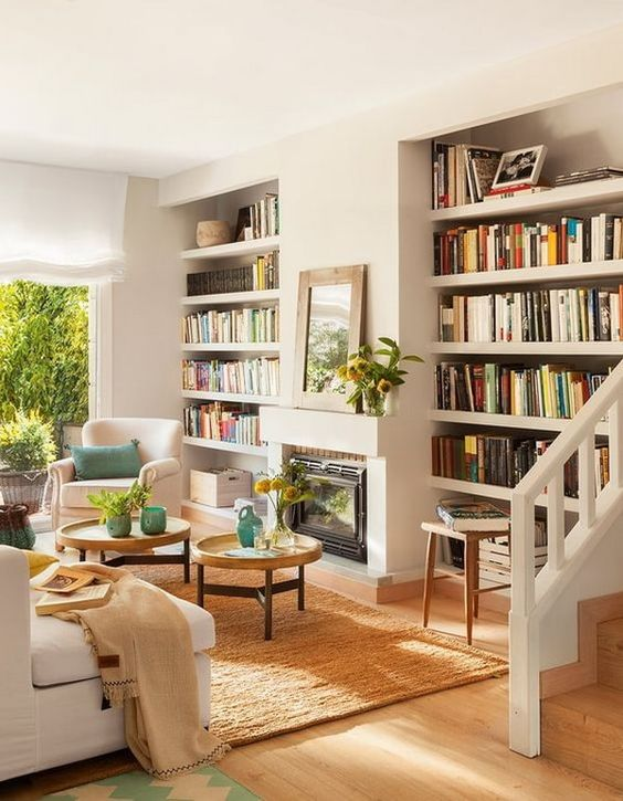 Cómo poner librerías en tu salón de manera elegante