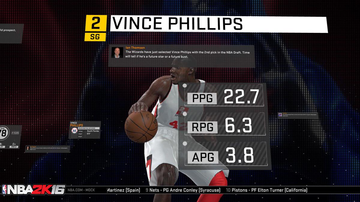 NBA 2k16 MyGM, MyLeague Modes : Rookie Draft