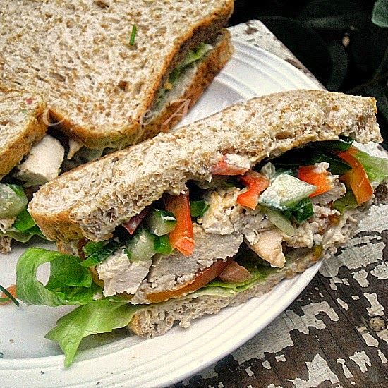 Tahini Chicken Sandwich ~ Excellent Light Dinner or Lunch with a delicious Tahini taste #Sandwich #Healthy #LowFatRecipe