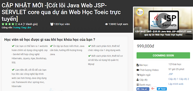 Share Khóa Học: Cốt lõi Java Web JSP-SERVLET core qua dự án Web Học Toeic trực tuyến