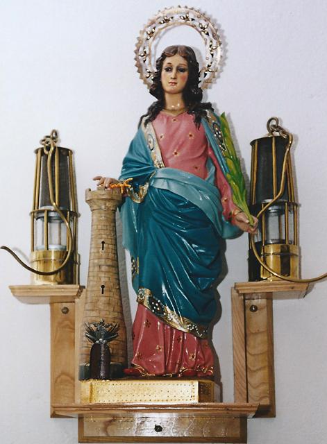 Santa Bárbara en la iglesia de San Román de Casomera