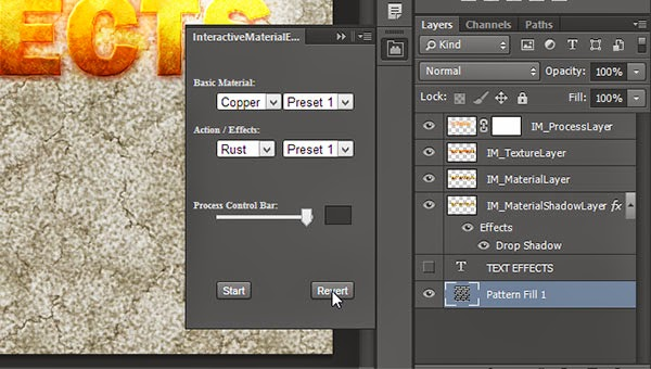 Revert Button in Free Photoshop Extension InteractiveMaterialEffects