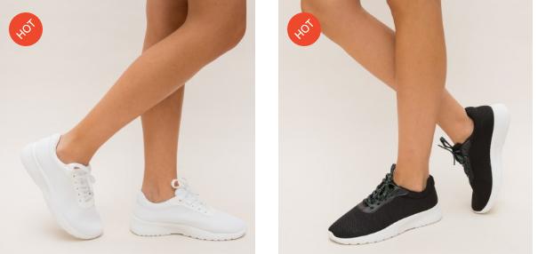 Adidasi comozi de sport ieftini din panza negri, albi