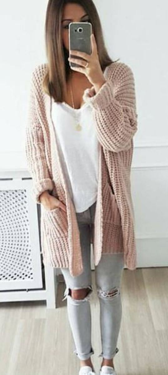 fall inspiration | blush knit cardigan + white top + ripped jeans