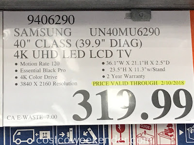 Deal for the Samsung UN40MU6290 40in tv at Costco