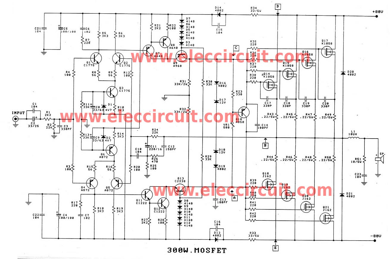 300w Up To 1200w Mosfet Amplifier Circuit Electronic Circuit