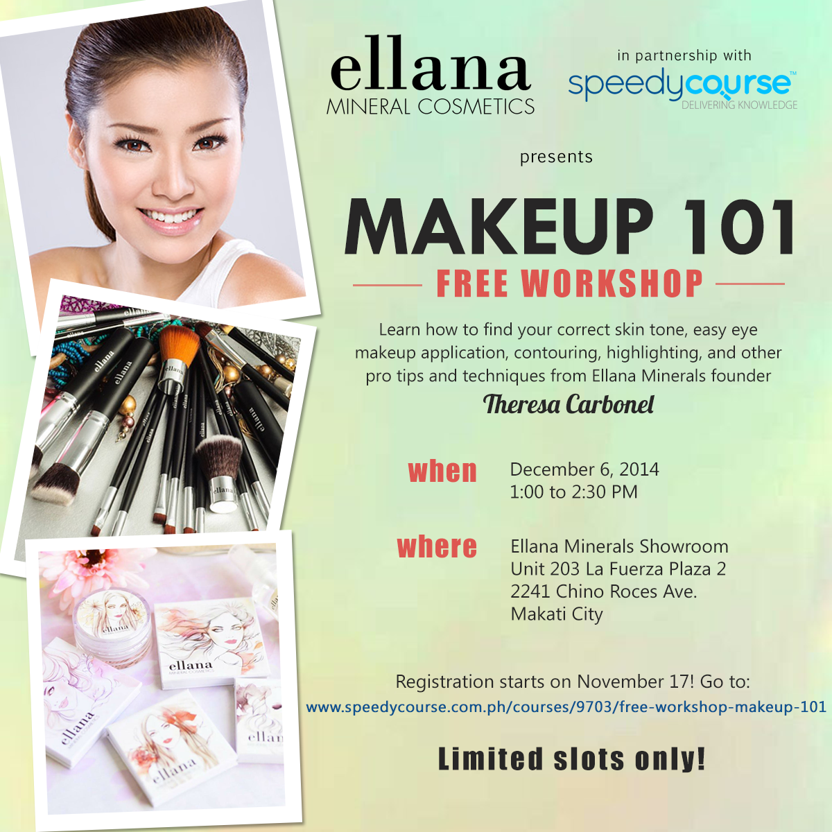 free workshop makeup 101 by ellana minerals and speedycourse vanity and everything in between. Black Bedroom Furniture Sets. Home Design Ideas