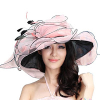 June's Young Women Race Hats Organza Hat with Ruffles Feathers