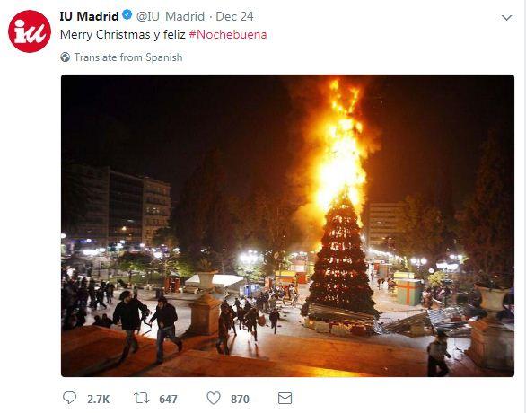 Οι «Ενωμένοι Αριστεροί» της Ισπανίας ευχήθηκαν «Καλά Χριστούγεννα» με το φλεγόμενο δέντρο της Αθήνας του 2008!