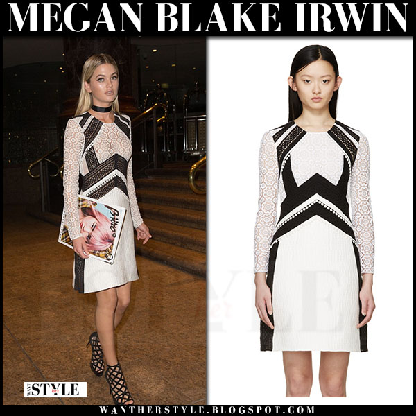 Megan Blake Irwin in white and black lace panel dress burberry prorsum what she wore front row