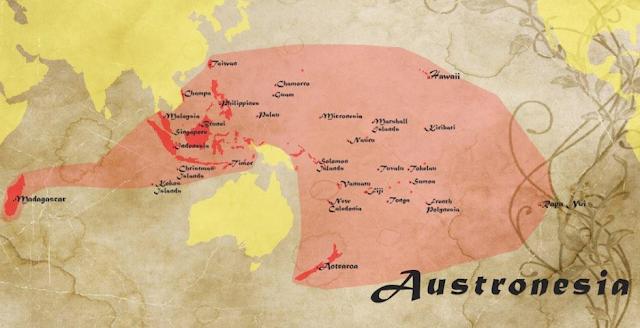 Peta persebaran penutur Bahasa Austronesia (Nenek moyang bangsa Indonesia)
