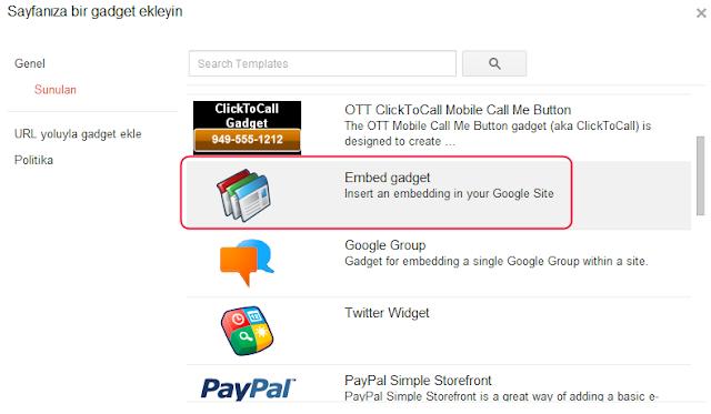 Google sites gadget