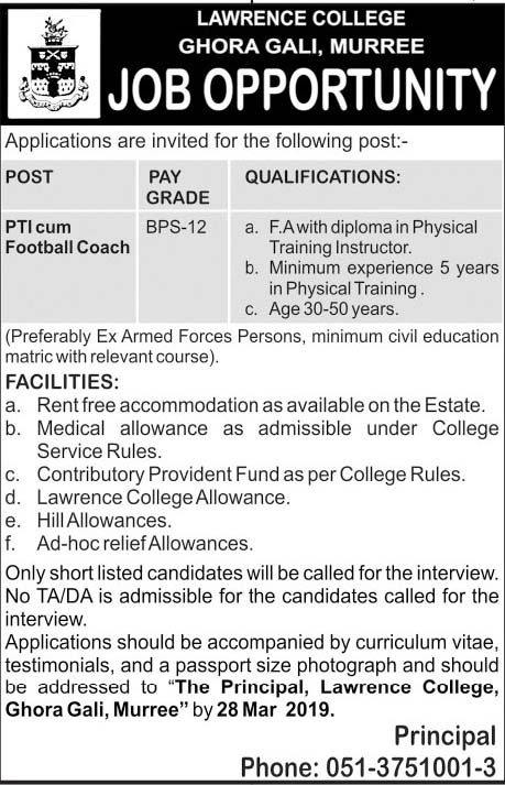 Jobs in Lawrence College Ghora Gali, Murree 2019
