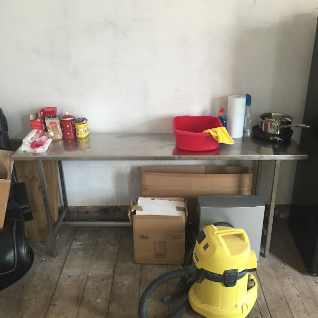 makeshift temporary kitchen