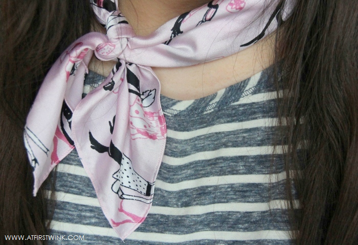 pink silk scarf with fashionable girls print