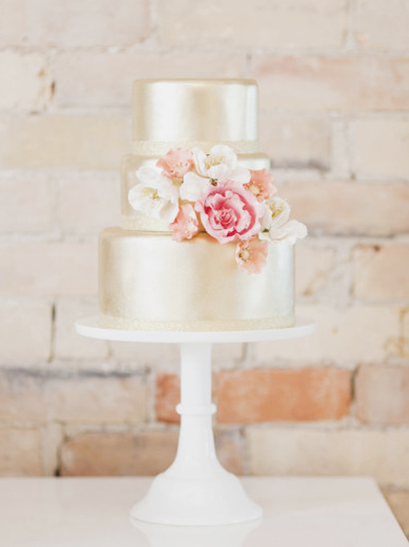gold + pink wedding cake