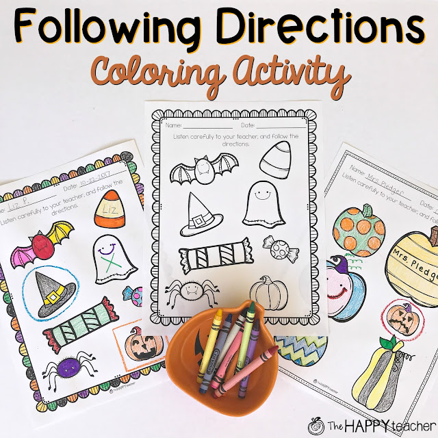 Following Directions activity and directions