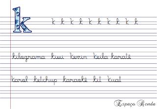 caderno de caligrafia letra K
