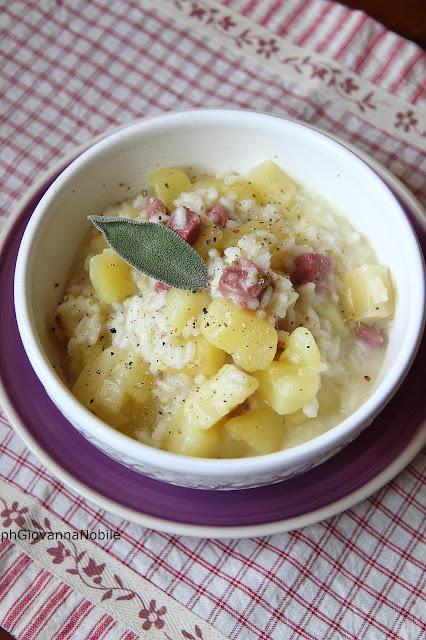 Minestra di riso, patate prosciutto cotto Rustichello Lenti e provolone