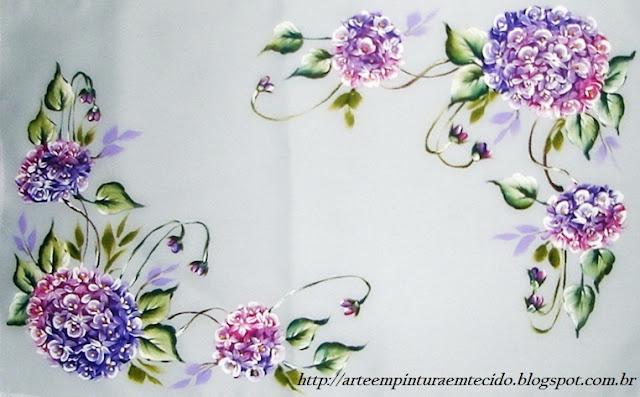 pintura em tecido flores toalha bandeja
