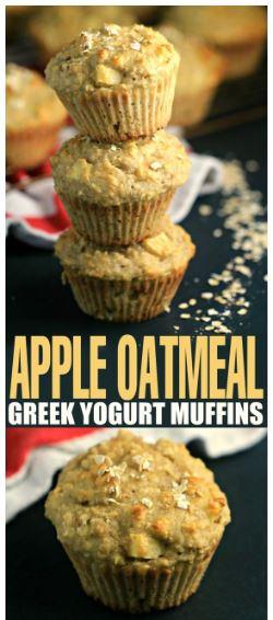 Apple Oatmeal Greek Yogurt Muffins