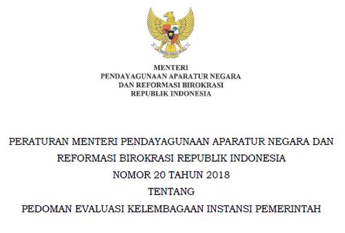Permenpan RB Nomor 20 Tahun 2018 Tentang Pedoman Evaluasi Kelembagaan Instansi Pemerintah