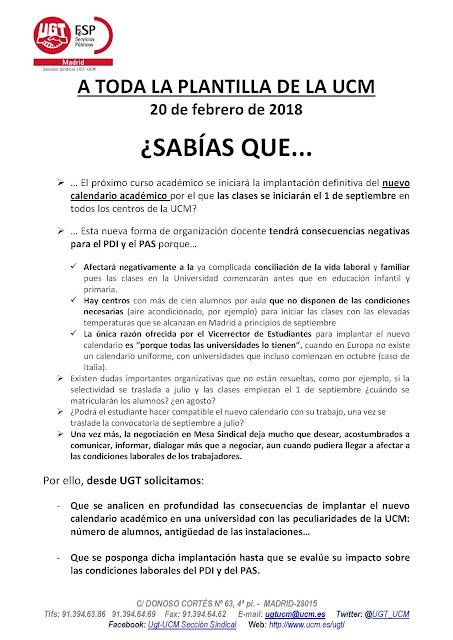Calendario Uem.Seccion Sindical De Ugt En La Ucm Implantacion Nuevo Calendario