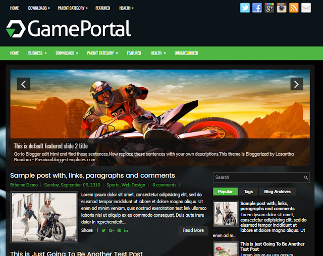 GamePortal Blogger Template