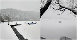 Σπάνιο θεάμα: «Πάγωσε» η λίμνη της Καστοριάς και οι εικόνες από το ολόλευκο αλπικό τοπίο είναι μαγευτικές