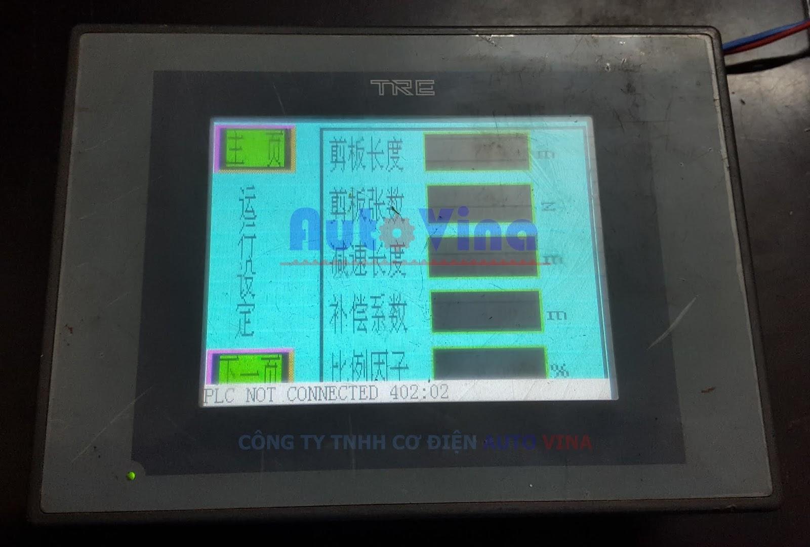 Sửa màn hình TP106PT-24V báo lỗi PLC NOT CONNECTED 402