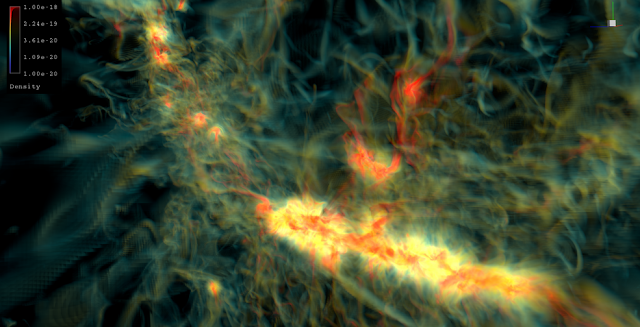 This simulation which captures a mix of radiation, magnetic fields, gravity and other physical phenomena, was produced with UC Berkeley's code and run on the Pleiades supercomputer, at the NASA Advanced Supercomputing facility at NASA's Ames Research Center. Credits: NASA Ames/David Ellsworth, Tim Sandstrom