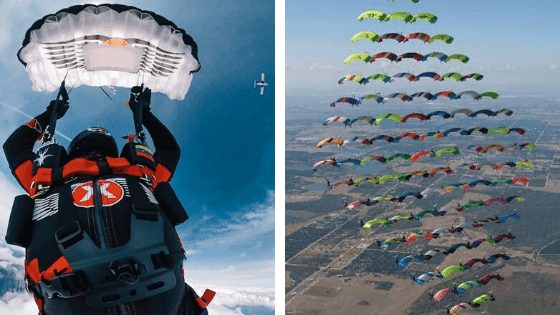 The smallest parachute/The most massive canopy formation