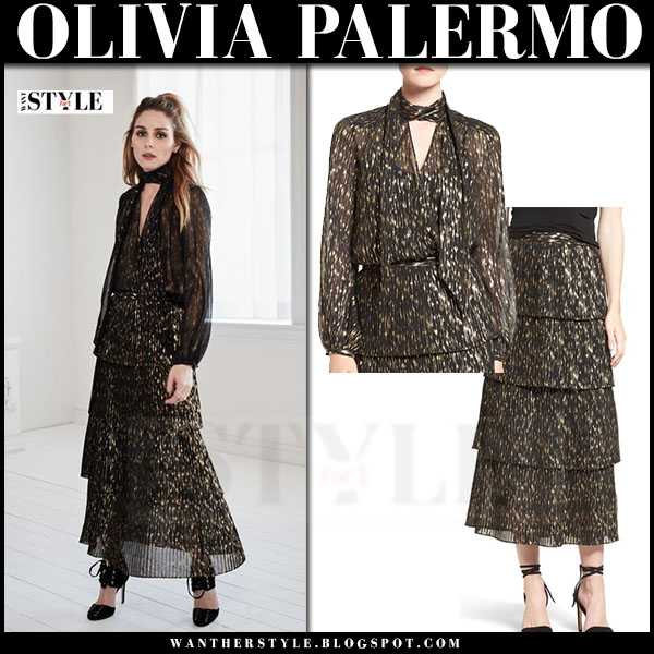 Olivia Palermo in black gold pleat skirt and blouse chelsea28 fall 2016 collection what she wore