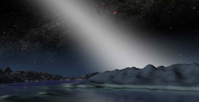 An artist's impression of exo-zodiacal light viewed on an alien world (Image: NASA/JPL-Caltech)