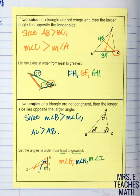 triangle inequality theorem interactive notebook page
