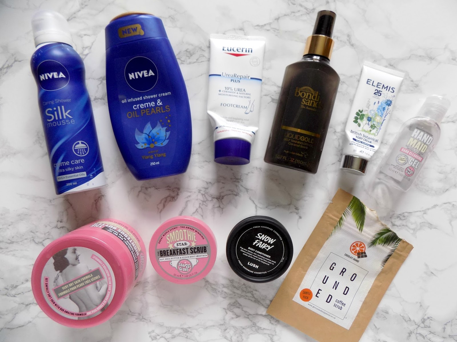 bodycare empties nivea soap and glory bondi sands