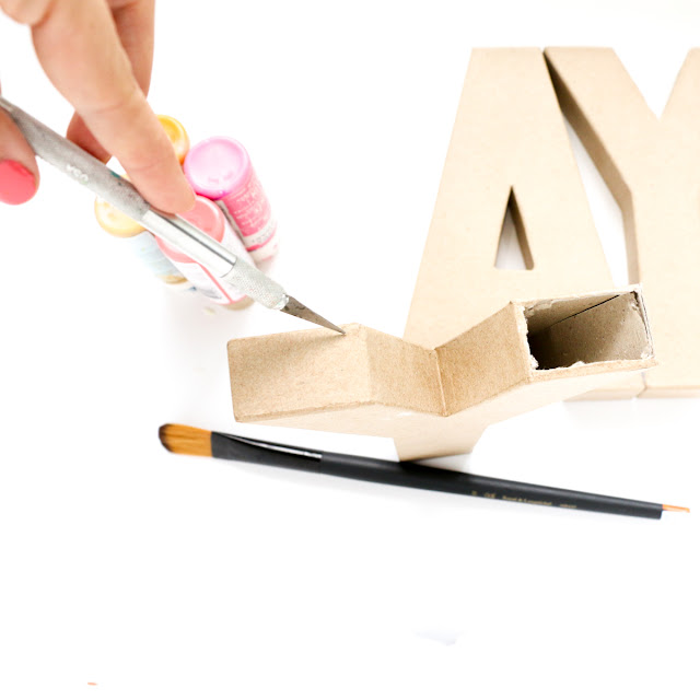 Make your own custom, Oh Joy! for Target inspired, typography vase using cardboard letters and paint - party craft - DIY Home decor - Mother's day - Valentine's day - DIY Vase
