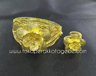 gelang tembaga filigree handmade