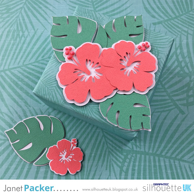 Make gift wrap with the FREE Tropical Leaves file on your Silhouette. Tutorial by Janet Packer Crafting Quine http://craftingquine.blogspot.co.uk for GraphtecGB Silhouette UK.