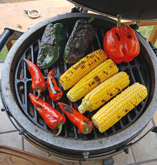 kamado grilled vegetables,