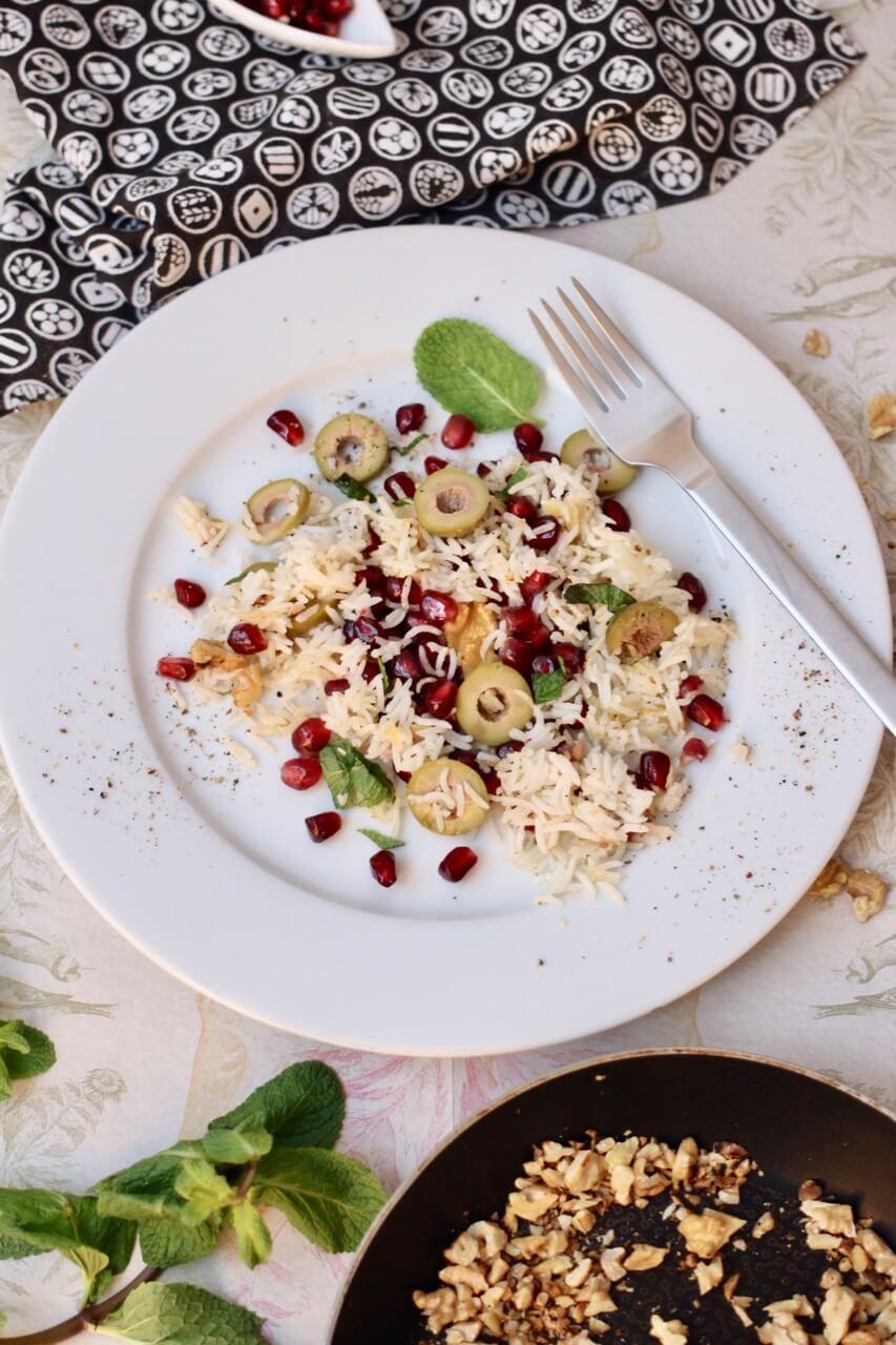 Gebackener Reis mit pikanter Salsa