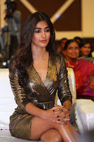 Pooja Hegde looks glamarous in deep neck sleevless short tight golden gown at Duvvada Jagannadham thank you meet function 135.JPG