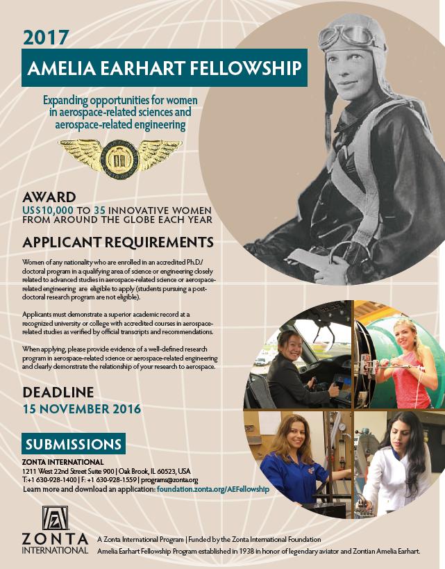 Plakat informacyjny o stypendium Amelii Earhart
