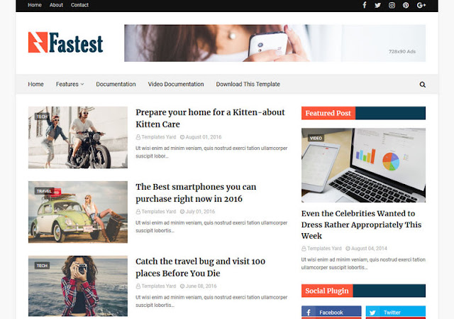 Download Super Fatest Fast Loading Optimised Blogger Template