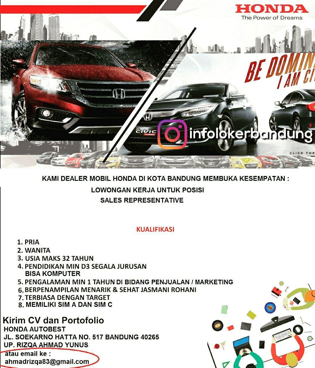 Lowongan Kerja Honda Autobest Soekarno Hatta Bandung November 2017