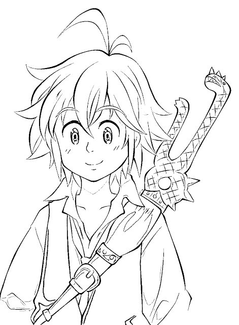 7 Deadly Sins Meliodas Coloring Pages
