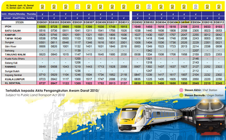 Jadual Perjalanan Terkini KTM ETS Bermula Ogos 2017