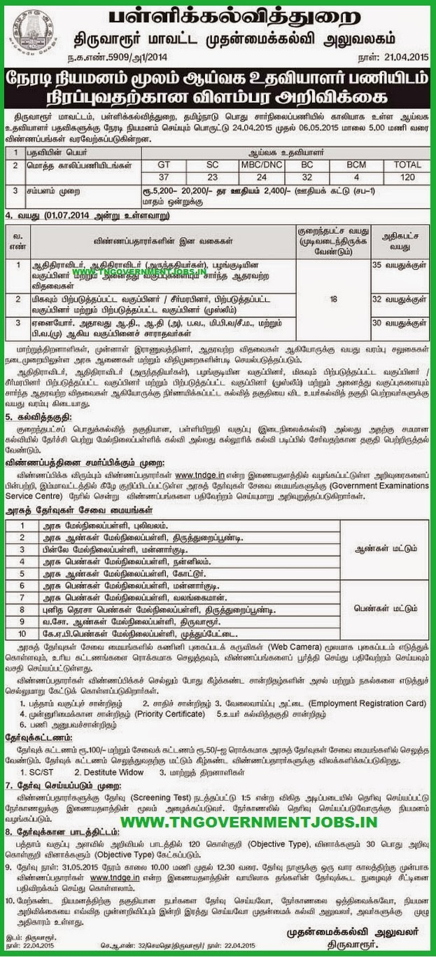 Tiruvarur District CEO Govt School Lab Assistant Recruitments (www.tngovernmentjobs.in)