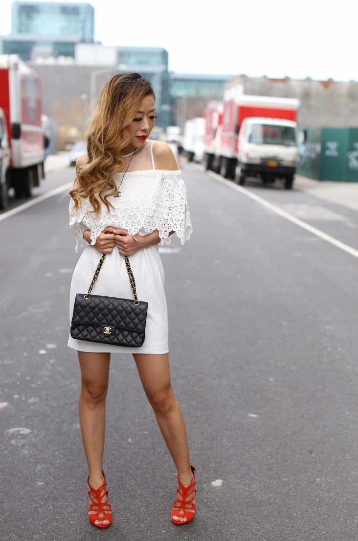 Endless rose Cold Shoulder Lace Mini Dress, chanel classic flap bag, giuseppe zanotti sandals, little white dress, chanel necklace, date night dress, romantic outfit, spring outfit