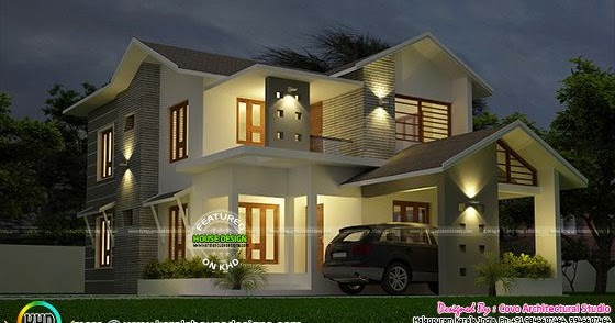 New modern and trendy home 1900 sq ft kerala home design for 1900 sq ft house plans kerala